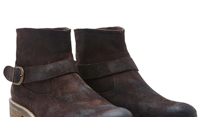 Clipper Washed Suede Ankle Boot - Brown