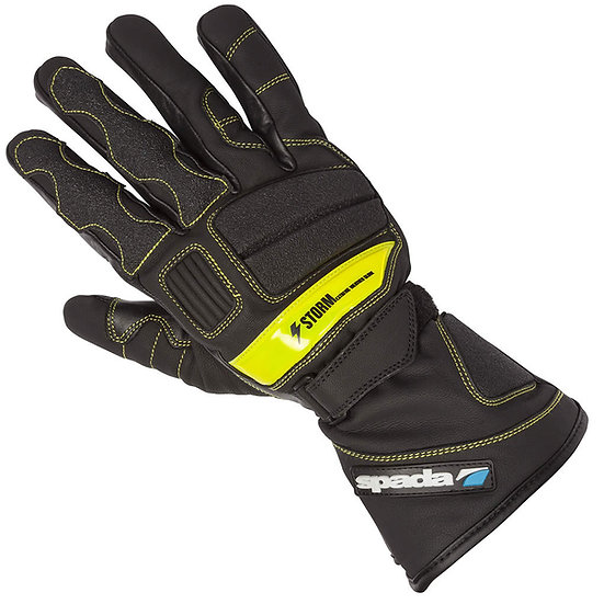 Spada Leather Gloves Storm WP Black/Fluo