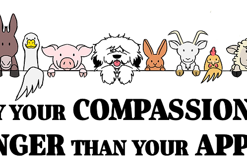 'MAY YOUR COMPASSION' bumper sticker