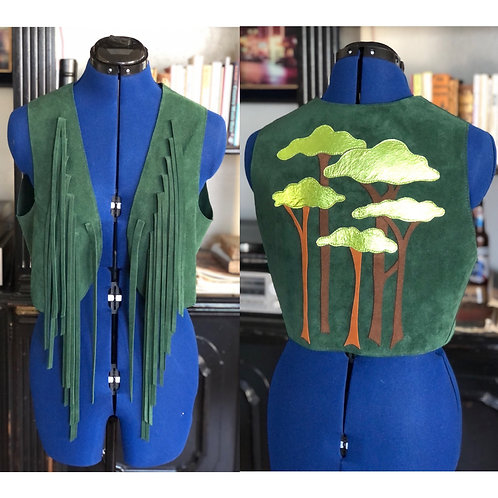 Suede Fringe Vest with Applique Trees