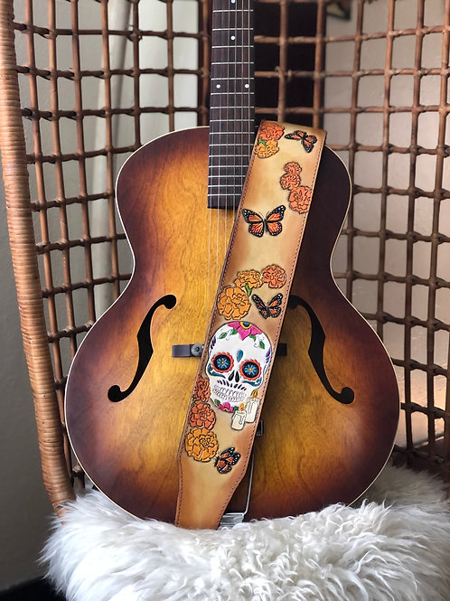Day of Dead Tooled Leather Guitar Strap