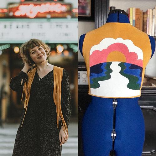 """Suede Fringe Vest in """"Sunset"""""""