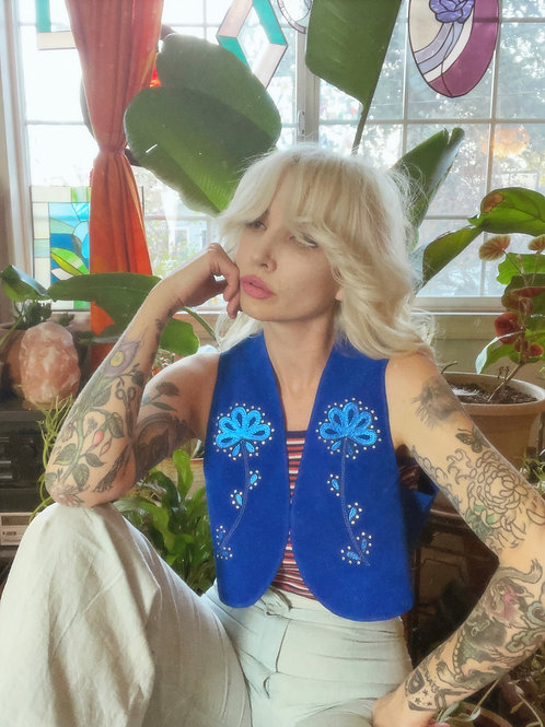 """Blue Suede Cropped Vest in """"The Dale"""""""