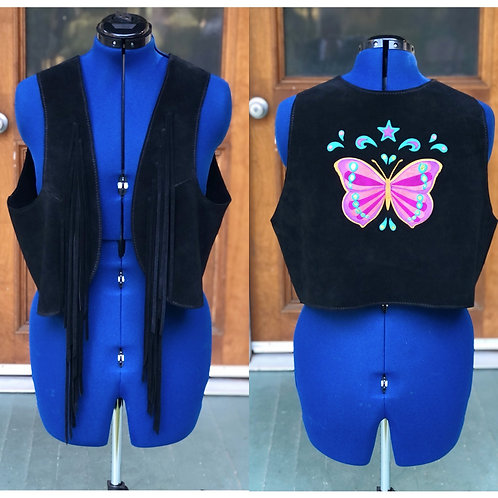 Psychedelic Butterfly Suede Fringe Vest