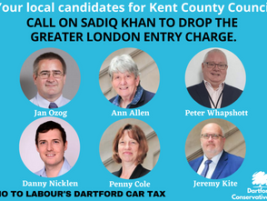 Kent County Council candidates support the No to Dartford Car Tax campaign.