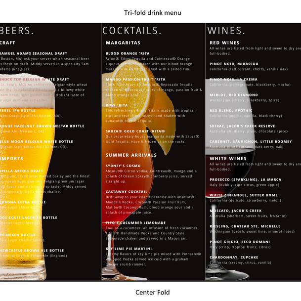 Drink Selection Menu