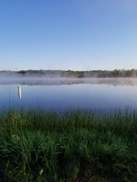 Morning fog at Proud Lake, Michigan