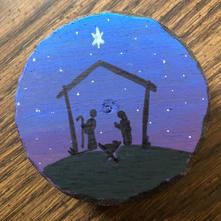 Hand Painted Manger Ornament.JPG