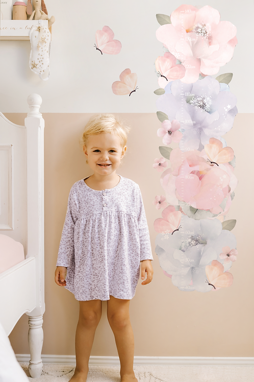Bows and Roses Growth Chart | Height Chart Wall Sticker