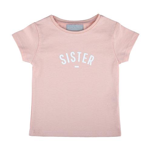 Blush 'SISTER' cap-sleeved t-shirt