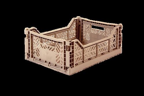 Aykasa Midi Foldable Crate in Warm Taupe