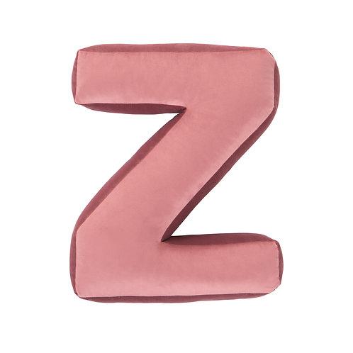 Velvet Letter Z Cushion Old Rose