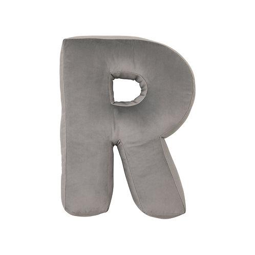 Velvet Letter R Cushion Grey