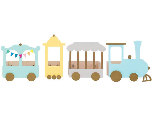 "Train Shelf ""Express to Fantasy"" Pastel Grey Version - 4 elements"