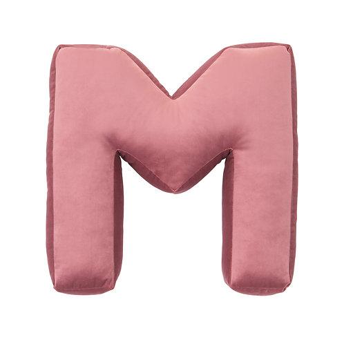 Velvet Letter M Cushion Old Rose