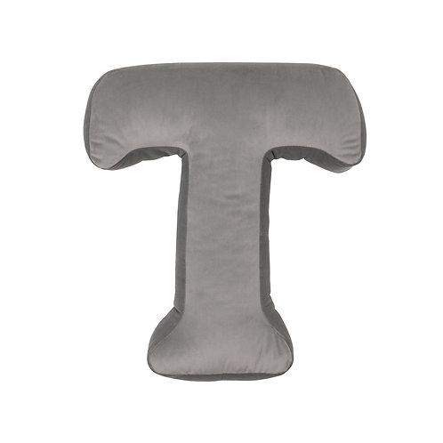 Velvet Letter T Cushion Grey