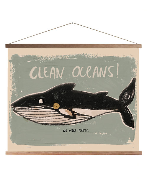 Studioloco Canvas School Poster with Wooden Magnetic Frame -Whale