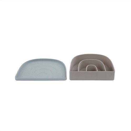 Rainbow Plate & Bowl - Dusty Blue / Clay