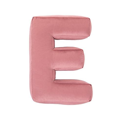 Velvet Letter E Cushion Old Rose