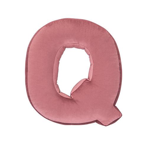 Velvet Letter Q Cushion Old Rose