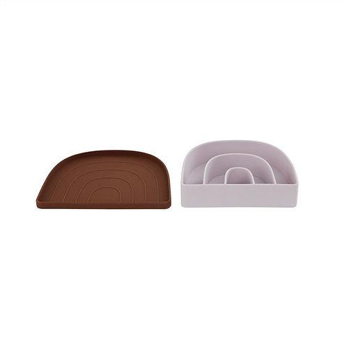 Rainbow Plate & Bowl - Caramel / Lavendar
