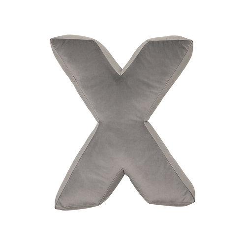 Velvet Letter X Cushion Grey