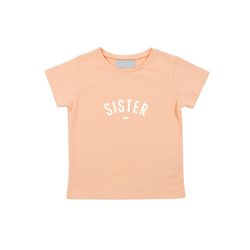 Peach 'SISTER' cap-sleeved t-shirt