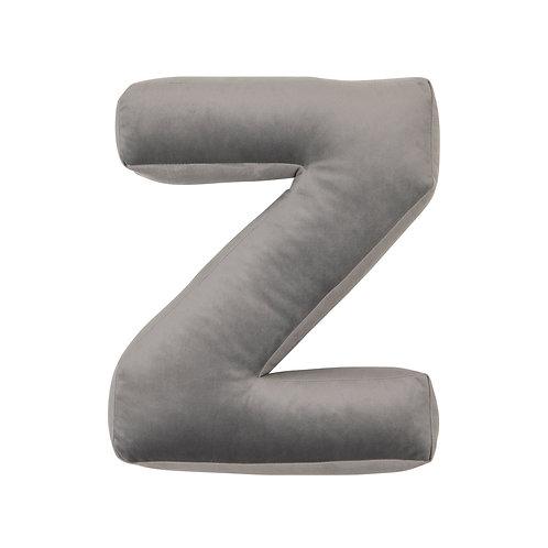 Velvet Letter Z Cushion Grey