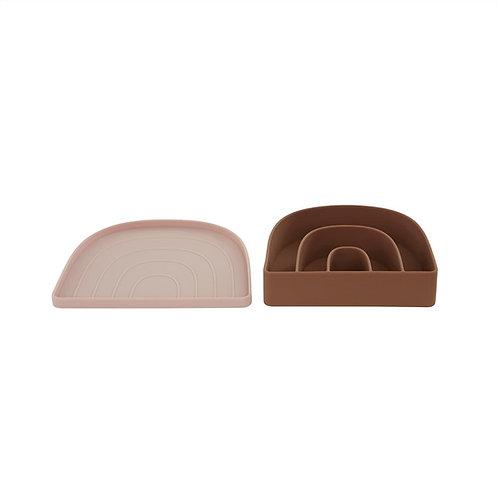 Rainbow Bowl & Plate - Rose / Fudge