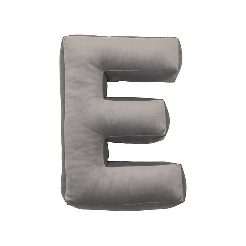Velvet Letter E Cushion Grey