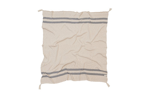 Lorena Canals Washable Knitted Blanket Stripes Natural - Grey