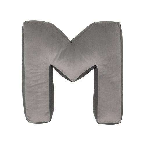 Velvet Letter M Cushion Grey