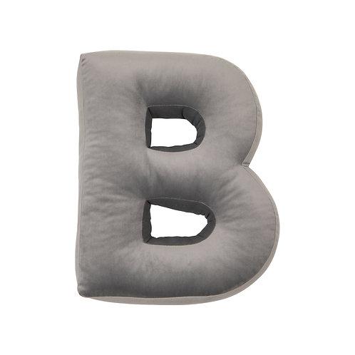Velvet Letter B Cushion Grey