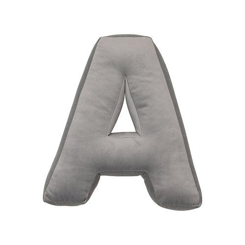 Velvet Letter A Cushion Grey