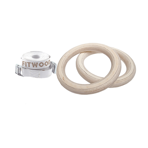 FitWood Children's Gym Rings - Wood Surface -White Straps