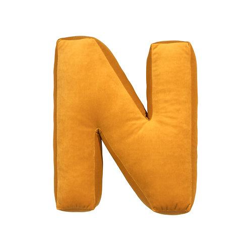 Velvet Letter N Mustard