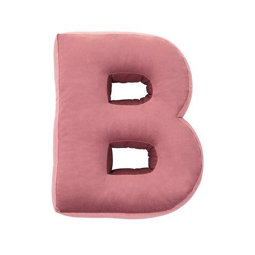 Velvet Letter B Cushion Old Rose