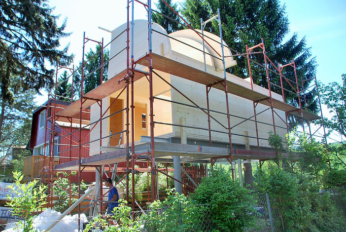 allmermacke Baustelle BSP-Fertigteile Brettstapelplatten, Brettstapeldecken, Nachhaltiges Bauen