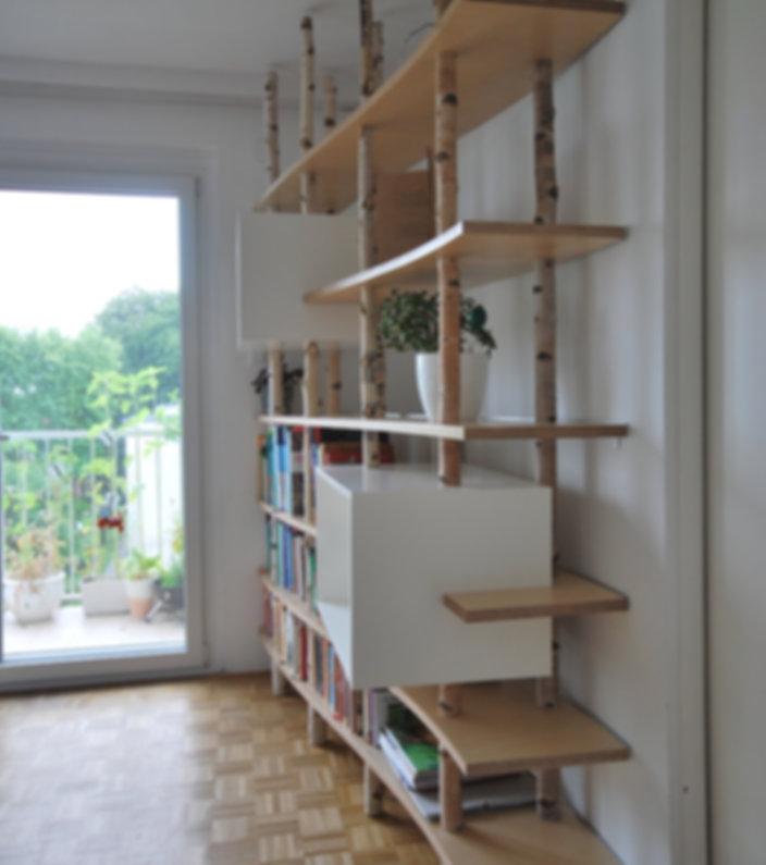 Bücherregal Birkenstämme Birkensperrholz