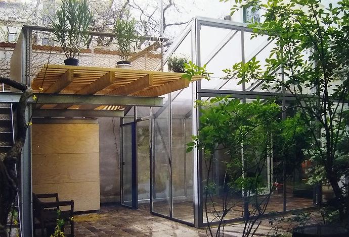 Wintergarten, Glashaus, Sonnendeck, Lattenrost, Hubklapptor