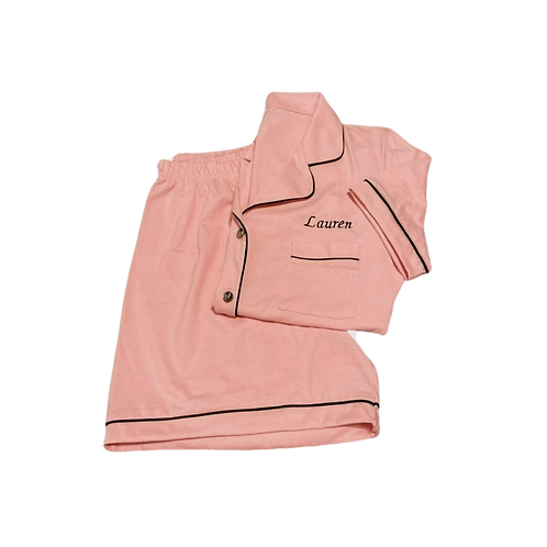 COTTON PINK PIPED PYJAMA