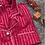 Thumbnail: CHRISTMAS RED JACQUARD STRIPE MATTE SATIN LONG SET