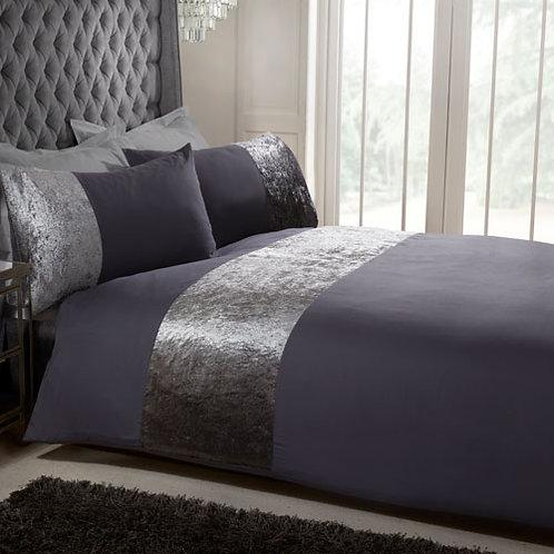 Luxury Velvet Duvet Set - Charcoal