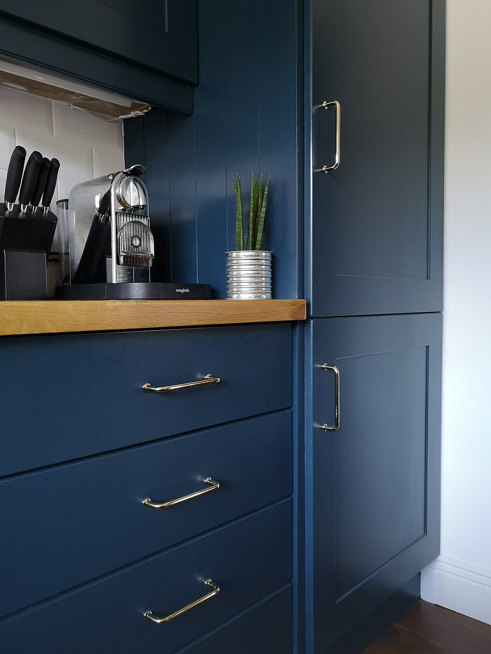Farrow and Ball Hague Blue kitchen presses