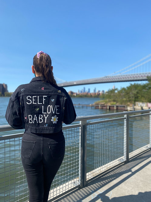 Self Love Baby Boxy Cropped Black Denim Jacket
