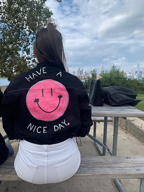 Have A Nice Day Cropped Black Denim Jacket