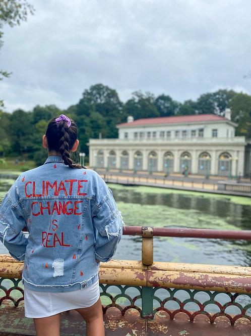 Climate Change Is Real Light Denim Jacket