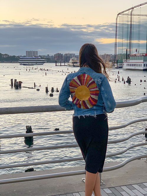 Vintage Sun Raw Edge Denim Jacket