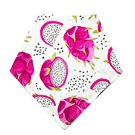 Pet bandana that's all white with bright pink dragon fruits on it. As well as dragon fruit seeds
