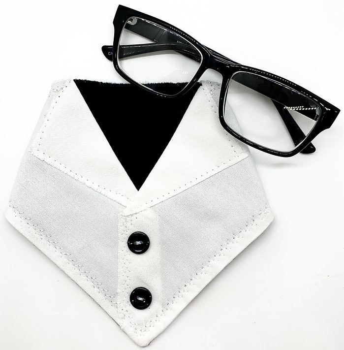 A lab jacket themed bandana that has 2 black buttons and glasses in the top right corner